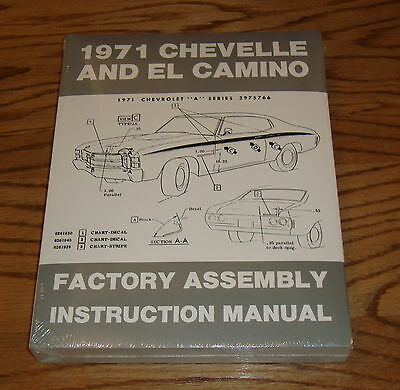 1971 Chevrolet Chevelle El Camino Monte Carlo Factory Assembly Manual 71 Chevy