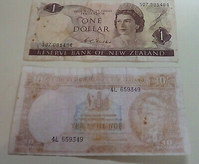 New Zealand 10/- and $1 banknotes.
