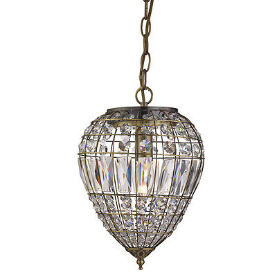 Antique Brass Pendant Light With Crystal Glass Buttons/Coffin Shape