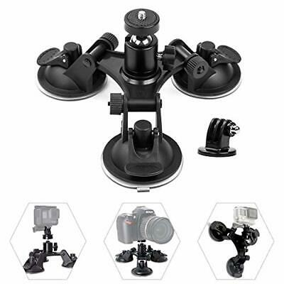 Triple Suction Cup Car Mount Camera Holder Window Mounted 360 Degree Tripod