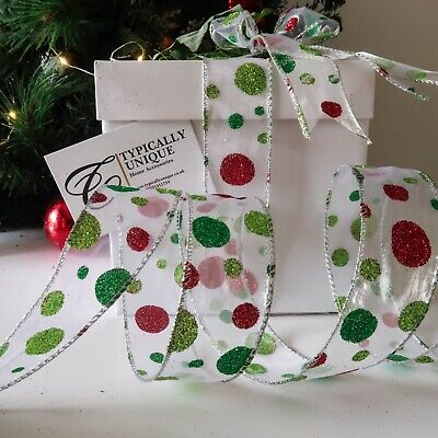 Red Green Polka Glitter Christmas Ribbon Wire Edged Decoration Gift Wrap 'Jovie'