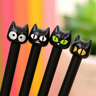 4pcs Black Cat Gel Pen Kawaii Stationery Creative Gift School Supplies 0.~GN