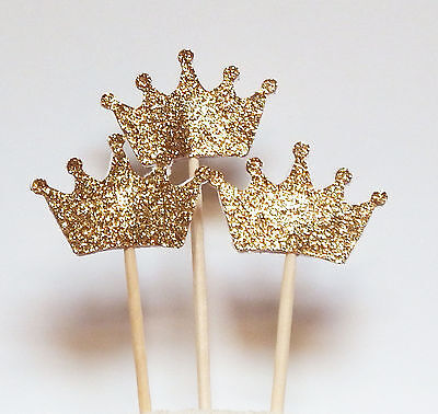 Set of 24 Gold Glitter Crown Cupcake Toppers Wedding Picks Party BABY SHO~GN