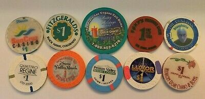 Lot of 10 Hotel Casino Chips Green Valley Midnight Rose Roxy's Luxor 4 Queens