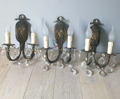 Set of Antique 3 Aged Brass Crystal Wall Lights, Rewired