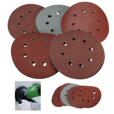 5''  125mm Hook Loop Sandpaper Disc Tool Accessory Sanding Discs 8 Hole