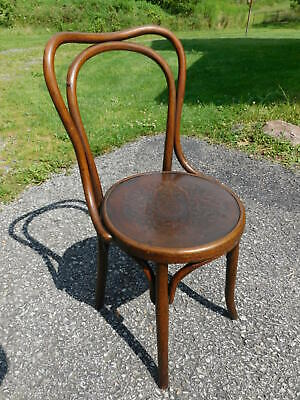 Antique 1920s Thonet Fischel Austria Oak Bentwood Bistro Chair Pattern Wood Seat
