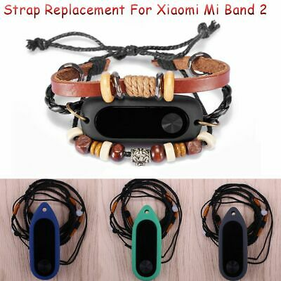 Bands Bracelet Silicon Necklace Case Leather Wrist Strap For Xiaomi Mi Band 2