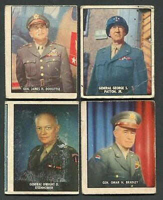1950 Topps Freedom's War Lot of (4) Generals Patton, Eisenhower, Bradley, +
