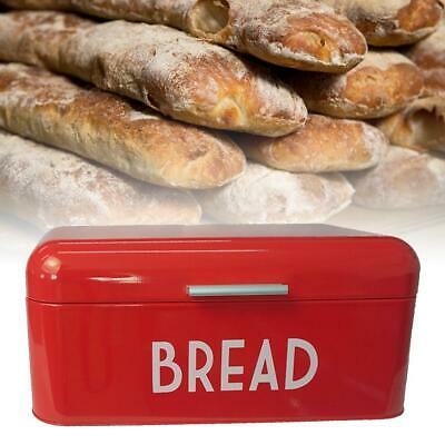 Bread Box Metal Bin Kitchen Container Cake Keeper Food Storage Roll Top Lid