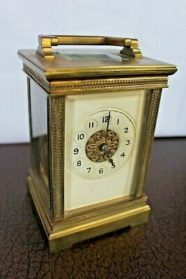 Brass & Bevelled Glass French ? Striking Carriage Mantel Clock & Key - Working