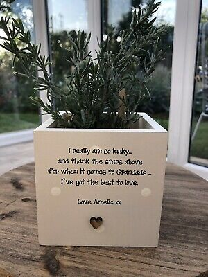 Personalised Shabby Chic Plant Pot GRANDAD gift Grandpa GRAMPY Pops OR ANY NAME