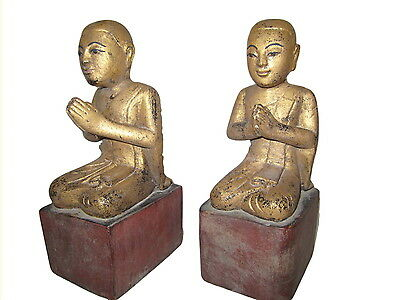 Antique Burmese wood Disciples Monks 19th century Myanmar Burma