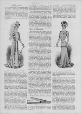 1900 Antique Print - FASHION Ladies Page Pleated Gown Light Cloth Pocket  (260)