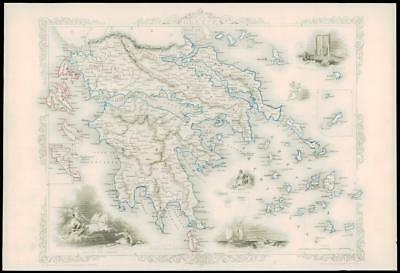 """1850 - Original Illustrated Antique Map """"GREECE"""" Ionian Islands by Tallis (106d)"""
