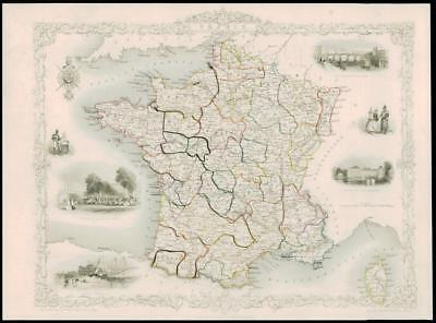 """1850 - Original Antique Illustrated Map of """"FRANCE""""  by Tallis (94d)"""