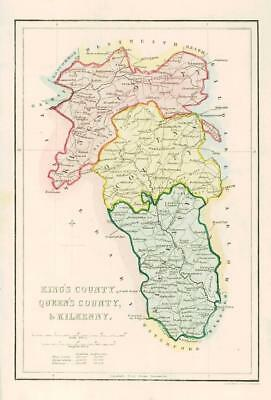 1840 IRELAND - Original Antique Map of KING'S COUNTY QUEENS & KILKENNY (003)