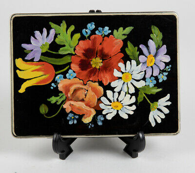 Antique Vintage Tole Painted Metal Trinket Box with Flowers