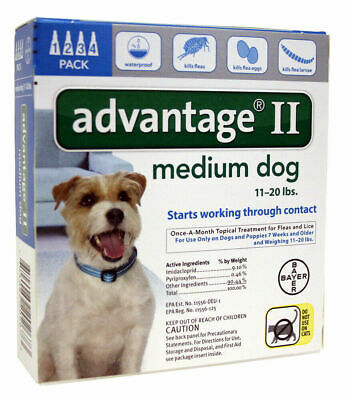 Bayer Advantage II for Dogs (Teal)   11-20lbs   4 doses   Repels & Kills