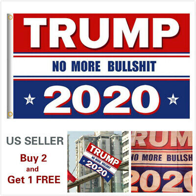 3x5 Ft Trump 2020 No More BS President Donald MAGA Flag US Red & Blue B