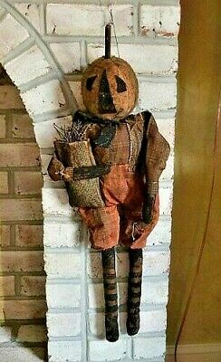 Primitive Handcrafted Jack Patch, Jack O'Lantern Doll, JOL, Fall/Halloween