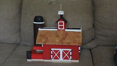 Handmade Red Barn Wooden 2 Family Birdhouse w/unique Silo Bird Feeder