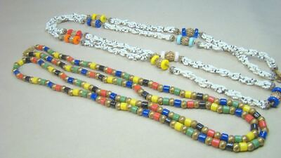 2 Art Deco Egyptian Colored Glass Beads Long Necklaces