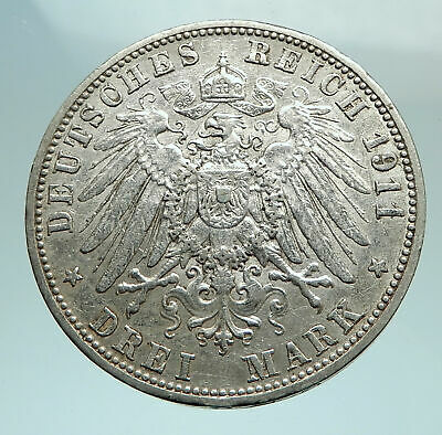 1911 Baden German State SILVER w FREDERICK II Eagle w Crown Vintage Coin i79790