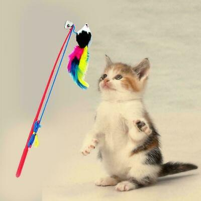 Cat Feather Mouse Stick Toy Funny Kitten Playing Rods Toys Pet Interactive M0D5
