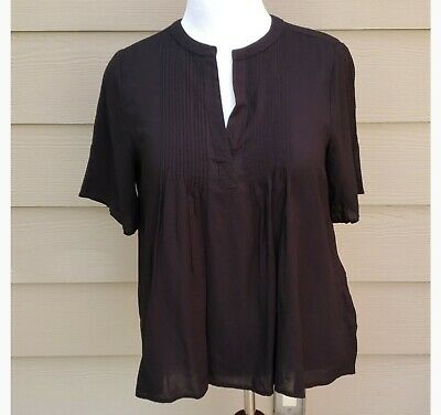Women's Old Navy Black Pintuck Style Short Sleeve Blouse Size M NWOT