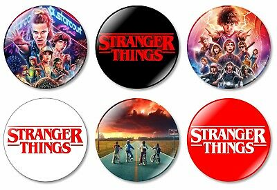 6 x Stranger Things 32mm BUTTON PIN BADGES Eleven New Season 1 2 3 TV Show DVD