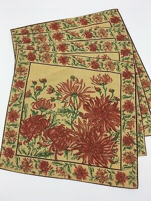 April Cornell for Danica napkins. Camel and red. Chrysanthemums, fading.