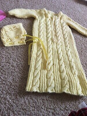 Antique Hand Made Baby Toddler Crochet Yellow Sweater Dress With Bonnet