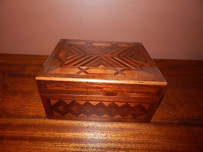 Handmade Antique Inlay Box.  USA Woodworking, made from 100's of inlay pieces.