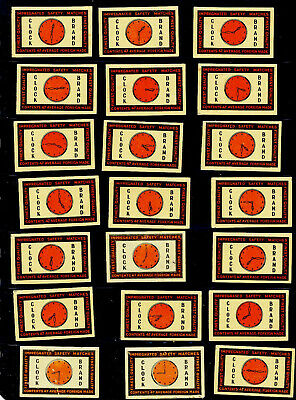 lot of 36 Matchbox Labels Clock Brand Russia Latva All Different Graphic Arts