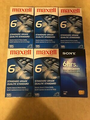 Lot Of 6 Blank VHS Tapes T-120