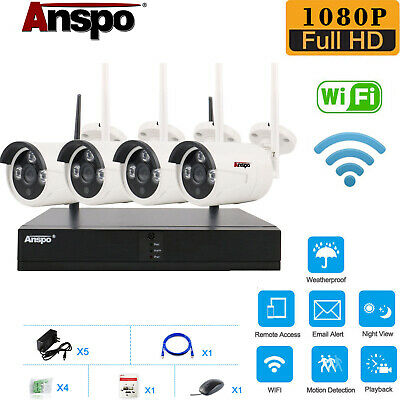 Anspo 4CH Wireless 1080P NVR Outdoor Home WIFI Camera CCTV Security System Video