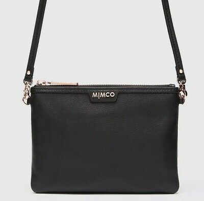 Mimco Classico Medium Pouch Crossbody Black Rose Gold Rrp149 • Brand New