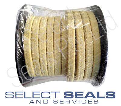 """Braided Kevlar Aramid Gland Packing 9.5 mm 3/8"""" 8 Meters Style SS2633"""