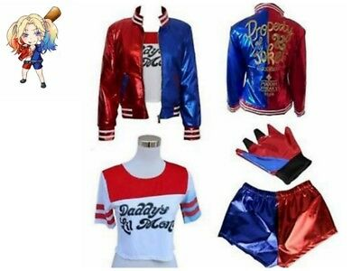 Girls Costume Suicide Squad Harley Quinn Kids Cosplay Fancy Dress Party AU