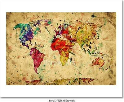 Vintage World Map. Colorful Paint, Art Print Home Decor Wall Art Poster - N