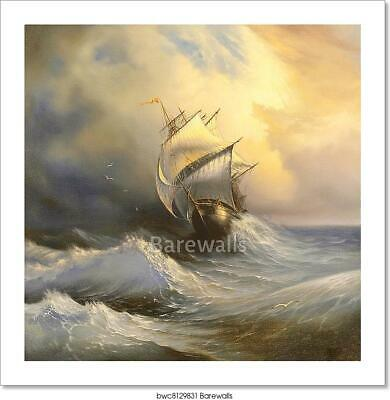 Ancient Sailing Vessel In Stormy Sea Art Print Home Decor Wall Art Poster - J