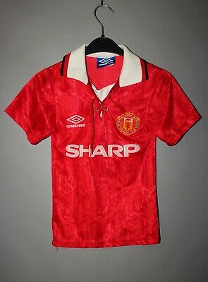 Vintage Manchester United 1992/1994 Home Football Shirt Jersey Umbro Boys (Sb)
