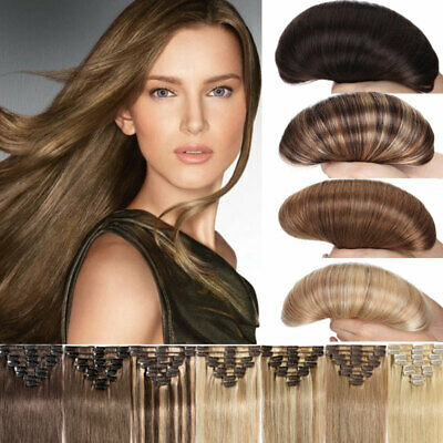 Thick Clip In Human Hair Extensions Remy 100 Natural Mix Brown Blonde Black AU J