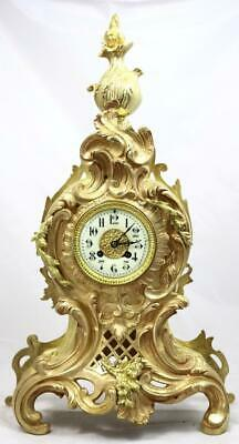 Stunning Antique French 1889 Rococo Gilt Bronze Bell Striking Mantle Clock