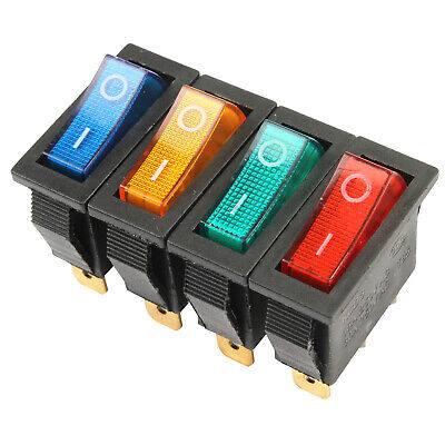 10PCS On/Off Large Rectangle Rocker Switch Lighted Car Dash Boat 3-Pin SPST 12V