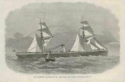 1867 - Antique Print MARITIME Colombian West India Pacific Steam Ship  (103B)