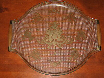 """Georges Briard   """"sonata""""   Decorated Glass Tray With Wood Handles"""
