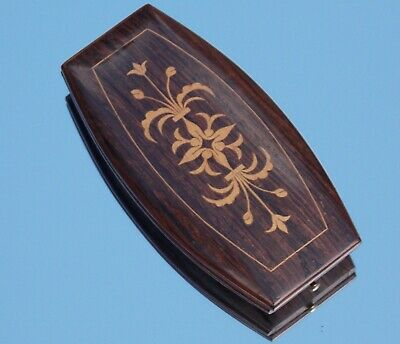 Lovely Victorian Inlaid Rosewood  Sewing Etui Case