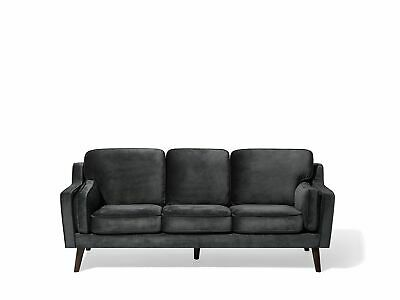 Luxury Modern 3 Seater Sofa Upholstered Velvet Dark Grey Lokka